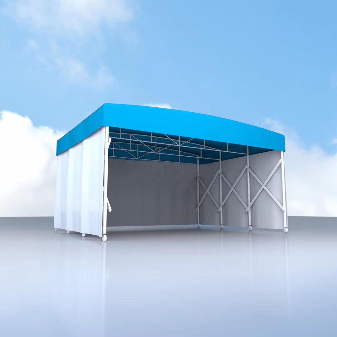 临时移动仓储仓库电动伸缩推拉雨棚工程